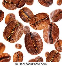 咖啡, 飛行, 被隔离, 煙, 豆, 背景, 白色