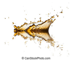 Brown liquid splash of coffee or cola, isolated on white...