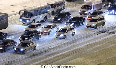 Flow of cars in winter