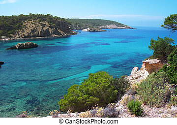 coastal scenery Ibiza - Clear sea water with a view to...