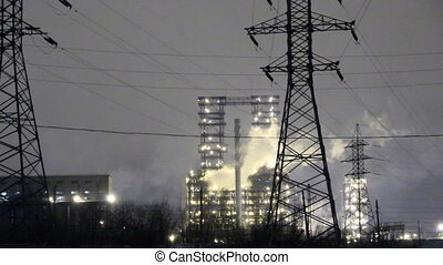 Oil plant at night. oil refining