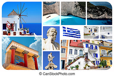 Collage of famous places in Greece