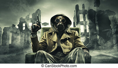 Post apocalyptic survivor in gas mask, destroyed city in the...