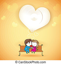 Happy loving Couple on Love Background - illustration of...