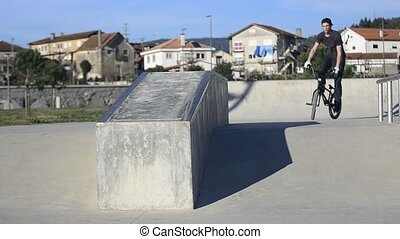 Bmx rider grinding on a concrete park on a sunny day