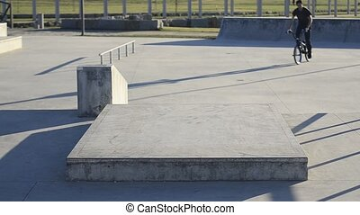 Bmx rider in action on a concrete park on a sunny day.