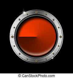 Metal Porthole - Metallic porthole on a black and orange...