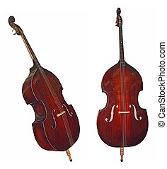 Double bass instrument isolated on white background