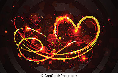 Swirly Heart - illustration of swirly glowing heart on...