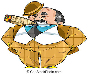 Banker - The thick important banker smokes a cigar