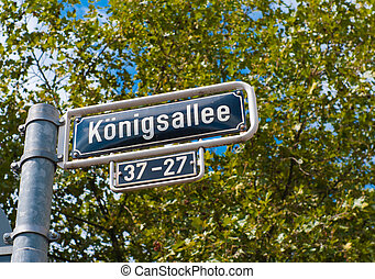 street name sign of the famous konigsallee in Dusseldorf,...