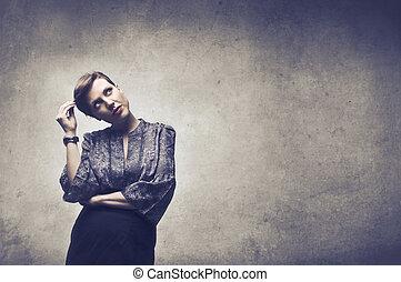 Woman thinking - Stylsih woman thinking