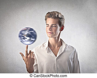 man with world - happy man playing with world