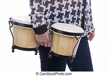 woman holding bongos with white background - woman standing...