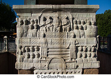 The Marble Pedestal of Theodosius Obelisk - Bas-reliefs on...