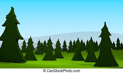 3D rendering of a pine tree forest.