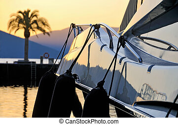 Sunset palm and yacht - Sunset over Boka Kotorska bay