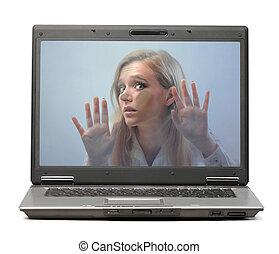 Woman in laptop - Woman stuck in laptop