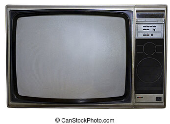Dirty Old TV - 70s style grunge color TV set in silver-grey...