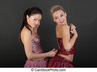helps tighten the corset - girl friend helps tighten the...