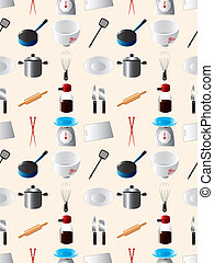 seamless Kitchen pattern,cartoon vector illustration