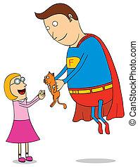 super hero saving kitty