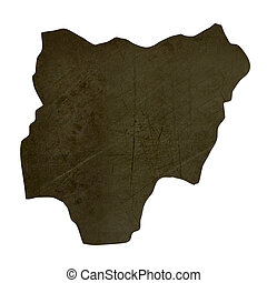 Dark silhouetted map of Nigeria