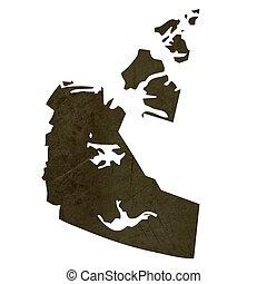 Dark silhouetted map of Northwest Territories