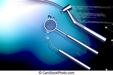 Dental equipment - Digital illustration dental equipment in...