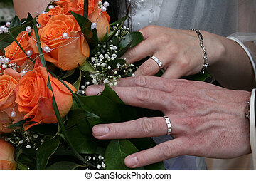 wedding detail - nice orange roses from the wedding and...