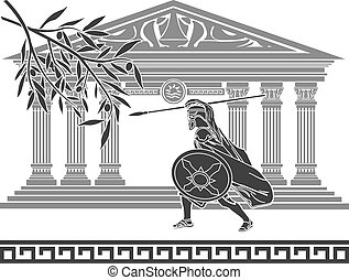 ancient warrior and olive branch