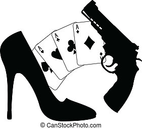 cards, pistol and womens shoe