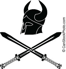 fantasy barbarian helmet with swords. stencil. first variant