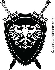 heraldic eagle and swords