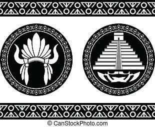 mayan pyramid and headdress