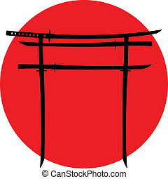 torii gate with japanese swords - silhouette of torii gate...