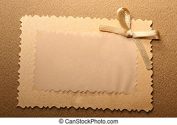 Blank greeting card with bow