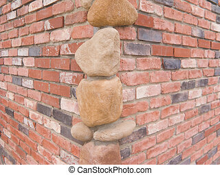 Corner Stones - Two Red Brick Walls with Decorative Corner...