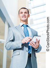 businessman working with tablet pc