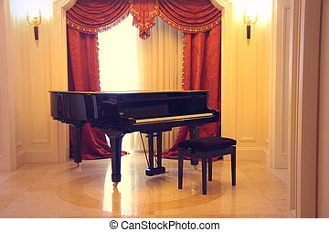 beautiful piano in a luxury room