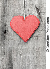 Valentine's Day love heart on rustic style background