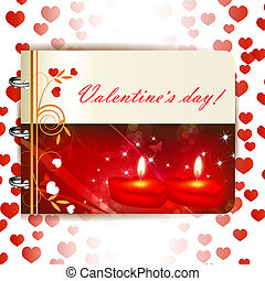 Happy Valentines day banner with candles