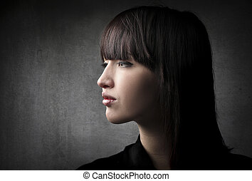 Woman with bangs - Portrait of woman with bangs