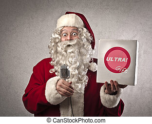 promotion - santa claus makes promotion with microphone