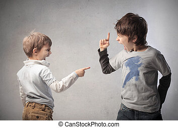 children arguing over gray background