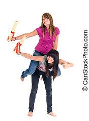 Teenager schoolgirls