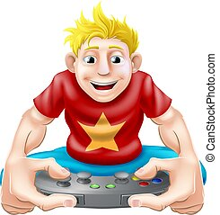 Happy gamer - A cartoon drawing of a young gamer playing on...
