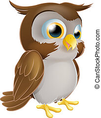 Cute Cartoon owl - An illustration of a cute standing...