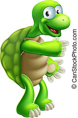 Cartoon Tortoise or Turtle pointing - An illustration of a...