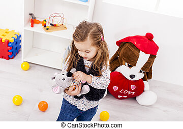 poco, niña, juego, N, habitación